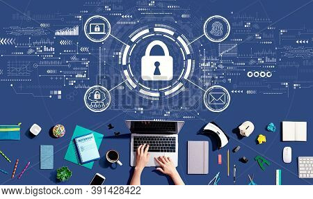 Internet Network Security Concept With Person Using A Laptop Computer