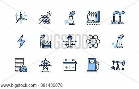 Power Plant Flat Line Icons Set Blue Color. Energy Generation Station. Vector Illustration Alternati