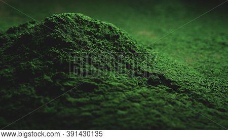 Spirulina Powder Macro Close Up,