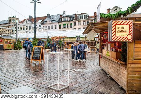 16 December 2019, Ghent, Belgium. Christmas Market Pavilions And Kiosks With Coffee, Food And Hot Dr