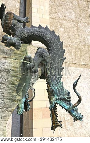 Halle/saale, Germany-august 24, 2019: Dragons Of The Dragon Well At The Marktkirche, West Side