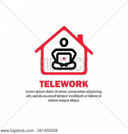 Telework Banner. Human Studying Or Working From Home. Vector On Isolated White Background. Eps 10