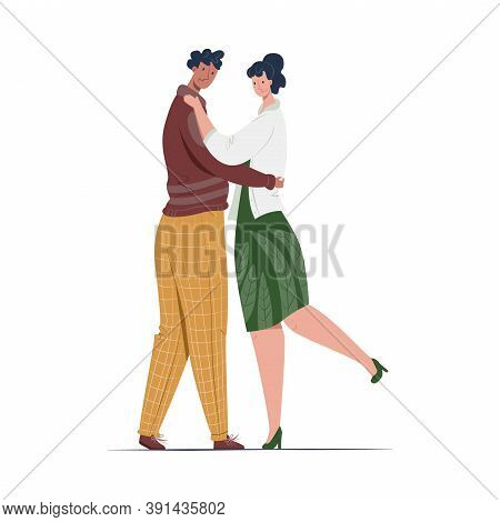 Vector Isolated Illustration With Young Couple Of Lovers Who Are Hugging And Admiring Each Other. Co