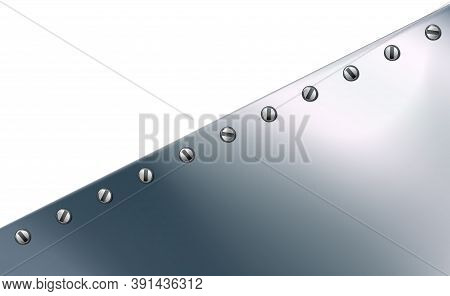 Technological Background From Aluminum Or Metal Sheet, Screwed. Realistic Metallic, Steel Backdrop.