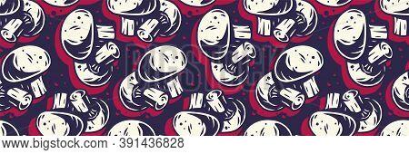 Color Pattern Wallpaper Of Champignon Or Mushroom