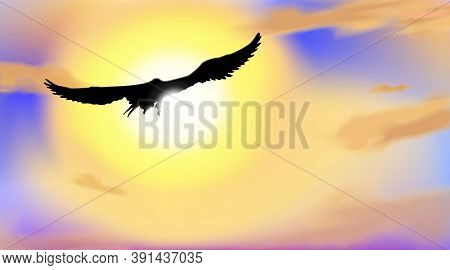 Art Background With The Silhouette Of An Hawk Or Eagle, Flying In Blue Sky With Light Bokeh In Color