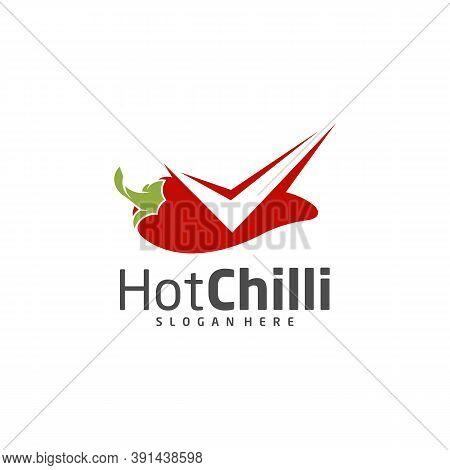 Check Chili Logo Design Vector Template, Red Chili Illustration, Symbol Icon