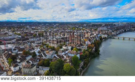 City Of Basel From Above - Amazing View Over The Swiss City By Drone