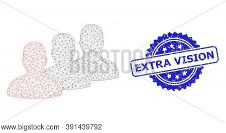 Extra Vision Scratched Stamp Seal And Vector Men Group Mesh Model. Blue Seal Includes Extra Vision C