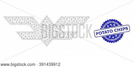 Potato Chips Unclean Stamp Seal And Vector Aviation Symbol Mesh Model. Blue Stamp Contains Potato Ch