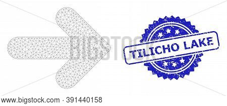 Tilicho Lake Scratched Seal Print And Vector Right Direction Mesh Structure. Blue Stamp Seal Include