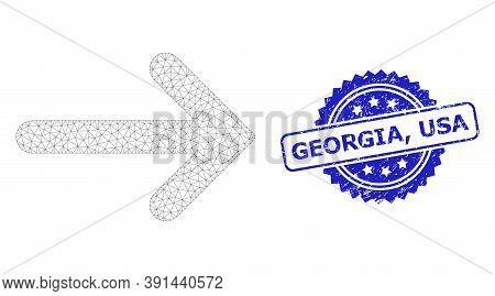 Georgia, Usa Rubber Seal Print And Vector Right Arrow Mesh Model. Blue Seal Has Georgia, Usa Tag Ins