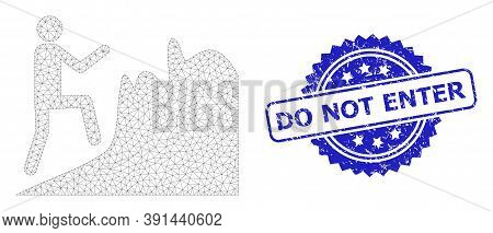 Do Not Enter Rubber Stamp Seal And Vector Climbing Person Mesh Model. Blue Stamp Seal Includes Do No