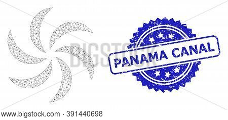 Panama Canal Grunge Watermark And Vector Turbine Rotation Mesh Model. Blue Seal Has Panama Canal Tit