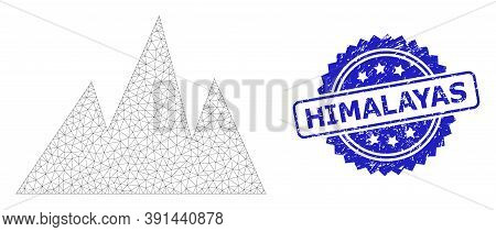 Himalayas Corroded Stamp And Vector Mountains Mesh Structure. Blue Stamp Seal Has Himalayas Text Ins