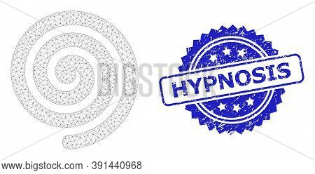 Hypnosis Scratched Seal And Vector Hypnosis Spiral Mesh Model. Blue Stamp Seal Contains Hypnosis Tex