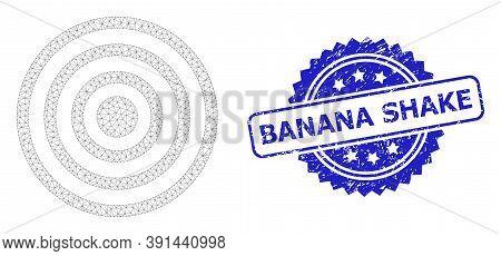 Banana Shake Unclean Seal And Vector Concentric Circles Mesh Model. Blue Seal Has Banana Shake Text