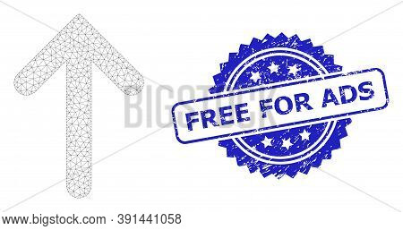 Free For Ads Unclean Stamp Seal And Vector Up Arrow Mesh Model. Blue Stamp Seal Includes Free For Ad