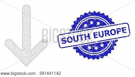 South Europe Textured Seal And Vector Down Arrow Mesh Model. Blue Seal Includes South Europe Tag Ins