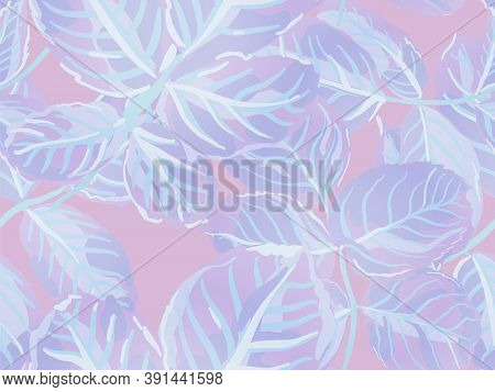 Proton Purple Rose Leaves Seamless Pattern. Painted English Rose Leaf Patterns Collection. Romantic