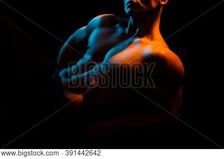 Muscular Man Body And Strong Muscles. Sexy Gay With Naked Torso. Shirtless Undress Nude Male Model