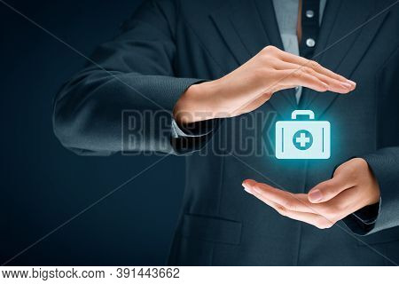 Medical (health) And Life Insurance Concept. Insurance Agent With Protective Gesture And Icon Of Nur