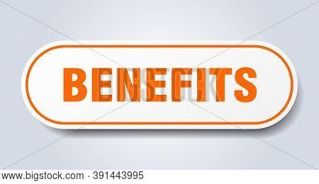 Benefits Sign. Benefits Rounded Orange Sticker. Benefits