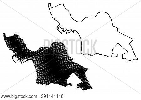 Agadir City (kingdom Of Morocco, Souss-massa Region) Map Vector Illustration, Scribble Sketch City O