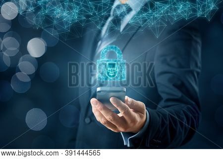 Smartphone Face Detection And Identification (id) Concept. Polygons Padlock With Face Is Metaphor Of
