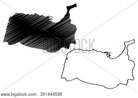 Tangier City (kingdom Of Morocco, Tanger-tetouan-al Hoceima Region) Map Vector Illustration, Scribbl