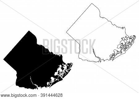 Atlantic County, New Jersey (u.s. County, United States Of America, Usa, U.s., Us) Map Vector Illust