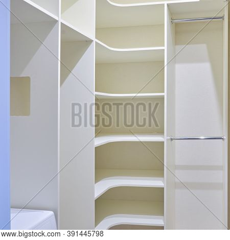 Modern Dressing Room, Close-up. Built-in Furniture In The Pantry