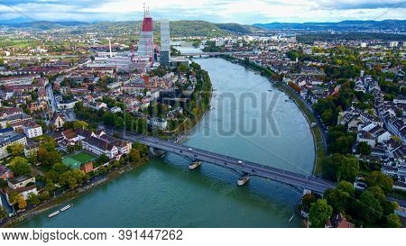 Basel - The Famous Swiss City From Above - Drone Footage
