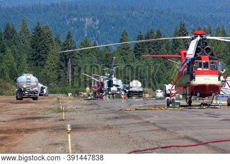 Prospect,  Oregon / Usa - September 9, 2014:  A Large Helicopter Named