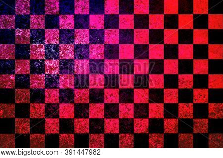 Pink Black Red Checkered Background With Blur, Gradient And Grunge Texture. Space For Graphic Design