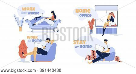Remote Freelance Work Anywhere, Distant Study At Home Anytime Set. Man Woman Freelancer, Teenager St