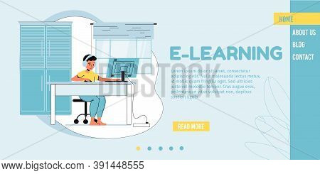 E-learning, Online Education, Remote Study For Children Landing Page. Boy Studying Watching Video Le