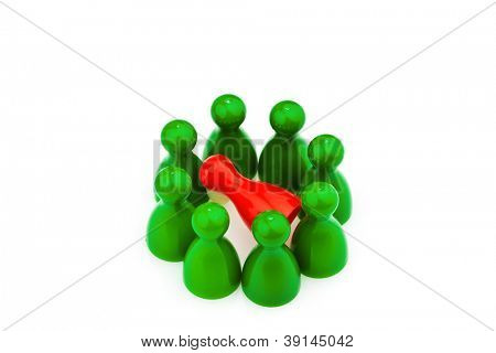 red and green pawns. bullying, loneliness and outsider in the team.