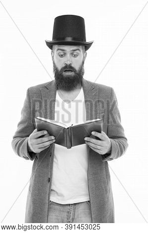 Reading Dramatic Scenario. Bearded Man Read Book Isolated On White. Poetry Reading. Inspirational Bo