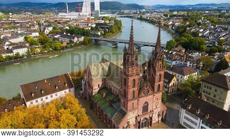 The Cathedral Of Basel In The Hisoric District - View From Above By Drone
