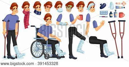 Young Sick, Disabled Or Injured Man Animated Character Creation Set. Male Person Suffering From Diff