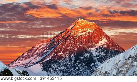 Evening Colored View Of Mount Everest From Gokyo Ri, Khumbu Valley, Solukhumbu, Sagarmatha National