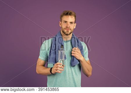 Man Athletic Hold Water Bottle. Handsome Athlete Drink Water. Water Balance. Sport For Better Life.