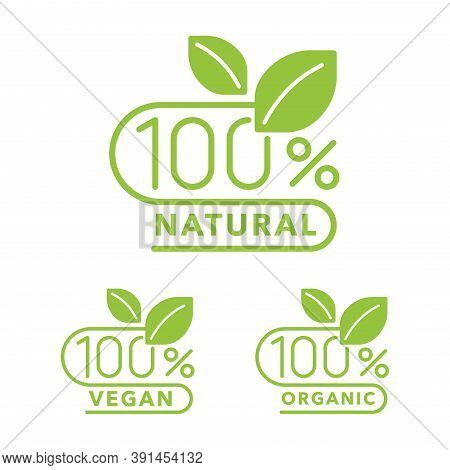 100 Natural, 100 Organic, Hundred Percent Vegan Icons - Badge For Healthy Food, Vegetarian Nutrition