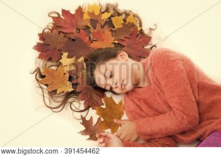 Haircare Tips Add To Fall Routine. Little Girl Gorgeous Long Hair And Fallen Maple Leaves Lay On Whi
