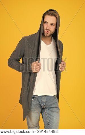 Fashionable And Stylish. Fashionable Man Yellow Background. Fashionable Look Of Vogue Model. Handsom