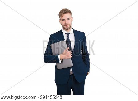 Freelance Worker In Formal Suit Hold Laptop Computer For Working Online, Freelancing.