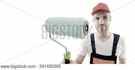 Paint Roller Close Up. Repair Service. Repair And Renovation Concept. Handyman Home Repair. Repairin