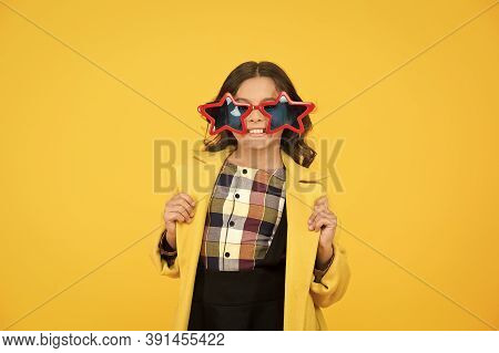 Rock Star. Feeling Like A Superstar. Girl Confident Cool Kid Wear Star Shaped Sunglasses. Star Conce