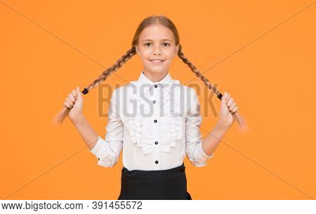 Graduation Concept. Primary Education. Perfect Schoolgirl. Welcome Back To School. Small Schoolgirl